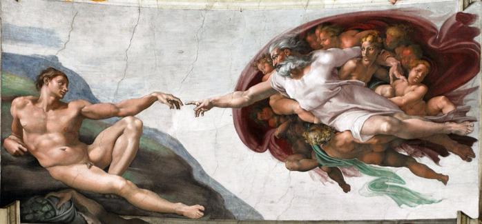 Микеланджело Буонарроти «Сотворение Адама» (1511) (700x325, 258Kb)