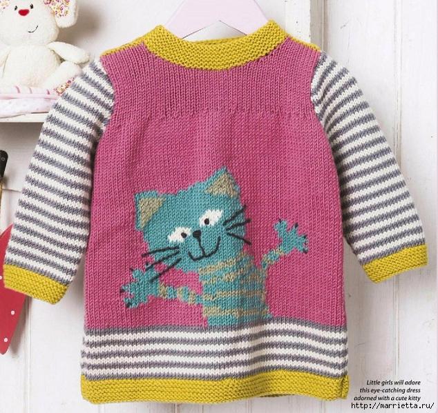 Детское платье спицами с аппликацией «счастливый кот» (2) (634x599, 348Kb)