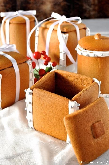 Новогодние подарки своими руками. Съедобные пряничные коробочки с конфетами (4) (464x700, 251Kb)
