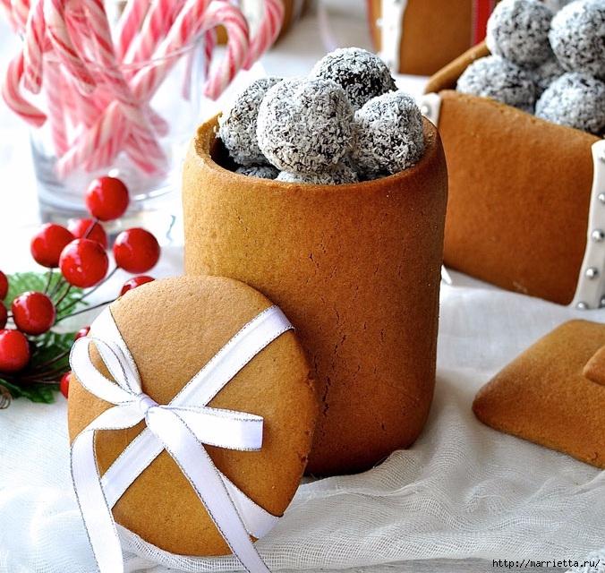 Новогодние подарки своими руками. Съедобные пряничные коробочки с конфетами (6) (676x640, 331Kb)