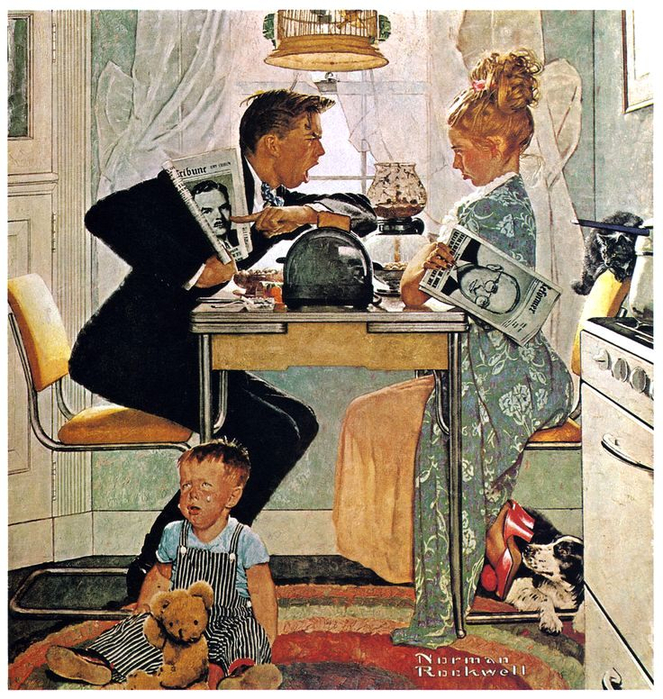 Norman Rockwell_BREAKFAST TABLE POLITICAL ARGUMENT_1948 (663x700, 601Kb)