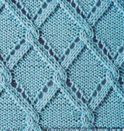 узоры ромбы плетенка спицами