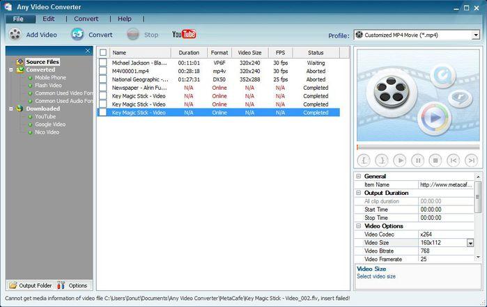 Конвертер видеофайлов Any Video Converter   простой и понятный