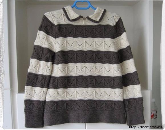 Схема узора спицами для двухцветного пуловера (6) (579x455, 156Kb)
