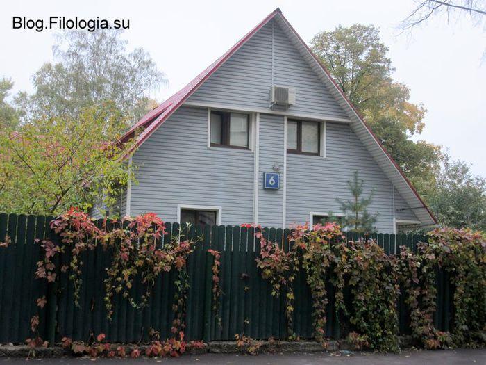 Осень в поселке Сокол в Москве. Улица Левитана, дом 6. Изгородь в ярких осенних листьях.