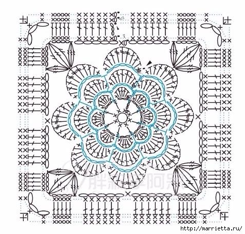 Чехол на табурет крючком цветочными мотивами (6) (477x456, 220Kb)