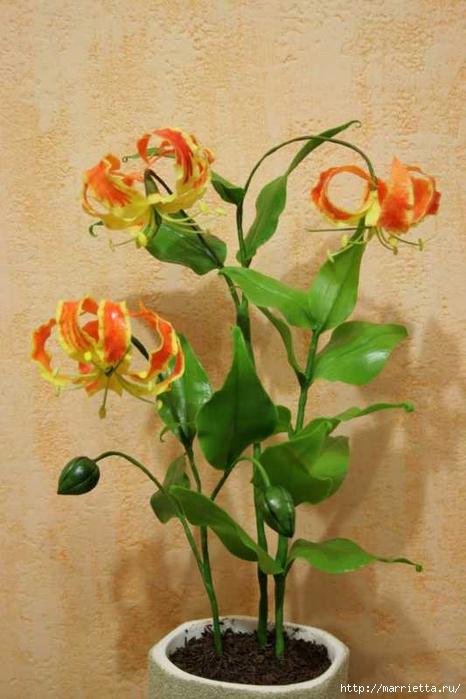 Глориоза (Gloriosa) - МК по лепке из холодного фарфора (19) (466x700, 231Kb)