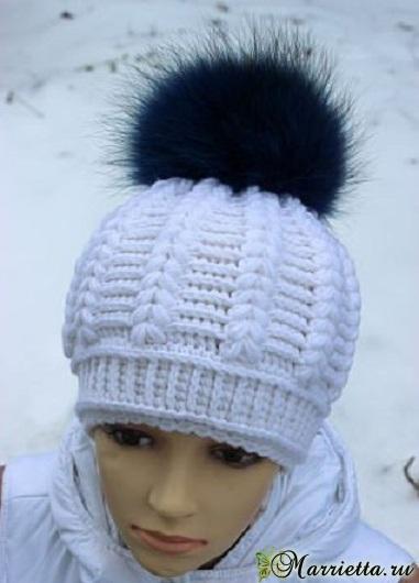 Красивая зимняя шапочка спицами. Схема (1) (381x530, 130Kb)