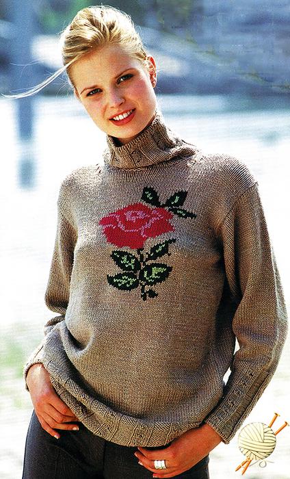 13 Пуловер с цветком МТ2 (424x700, 473Kb)