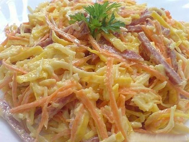 Салат с яичными блинчиками рецепт пошагово быстро