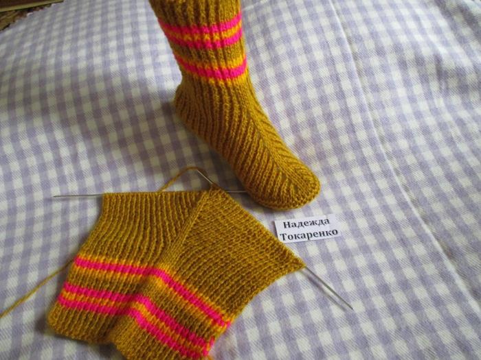 Вязание носок спицами на двух 617