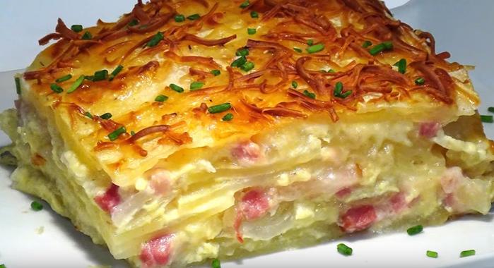картошка с беконом и сыром в духовке рецепт с фото