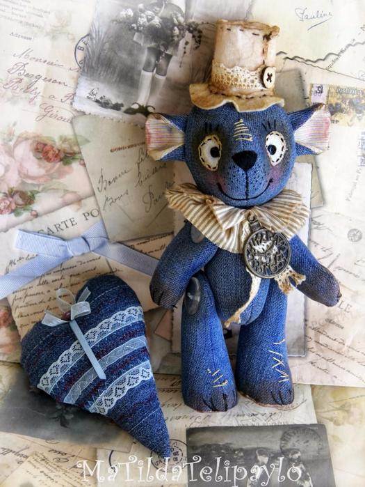 Медведь из джинсовой ткани своими руками