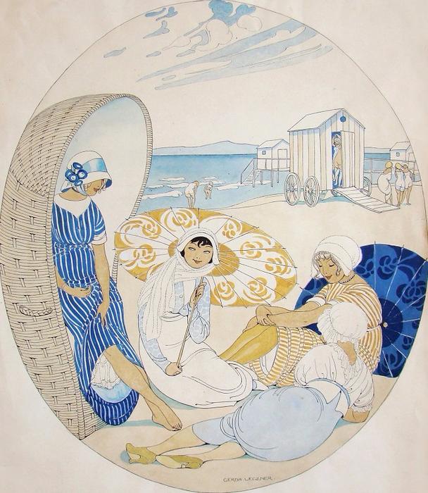 1913_Четыре женщины на пляже (Four Women at the Beach)_43.2 х 36.8_бумага, акварель_Частное собрание (608x700, 505Kb)