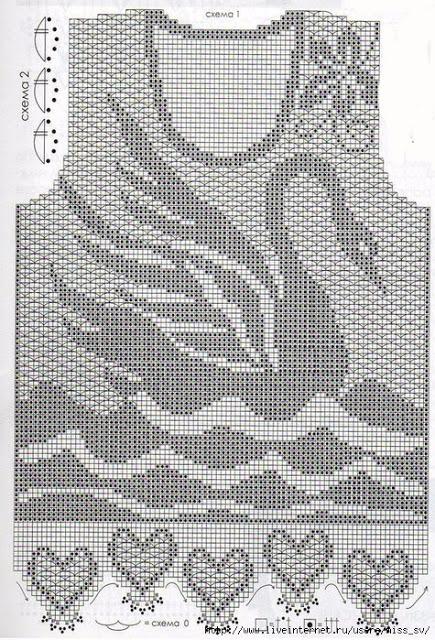 Схемы филейного вязания крючком юбки для