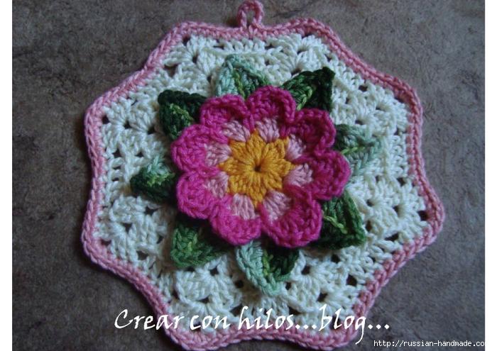 Бабушкин квадрат с цветком. Очень красивый мотив крючком (2) (700x495, 286Kb)