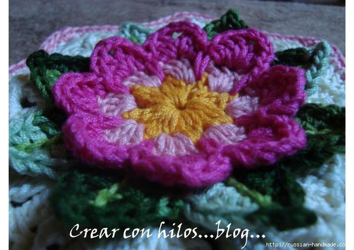 Бабушкин квадрат с цветком. Очень красивый мотив крючком (3) (700x495, 250Kb)