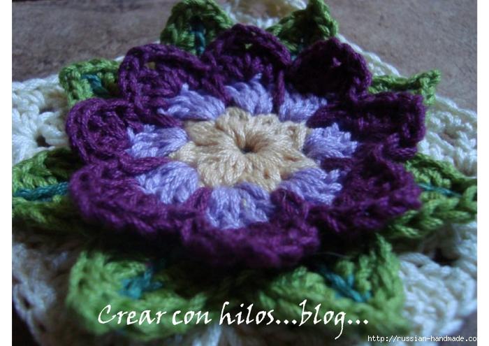 Бабушкин квадрат с цветком. Очень красивый мотив крючком (5) (700x495, 252Kb)