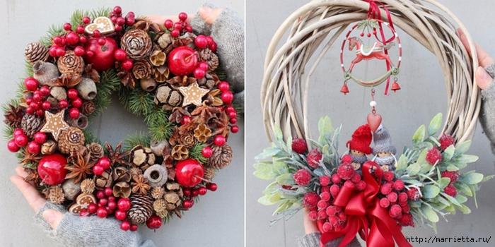 Рождественские венки из природных материалов (2) (700x350, 243Kb)