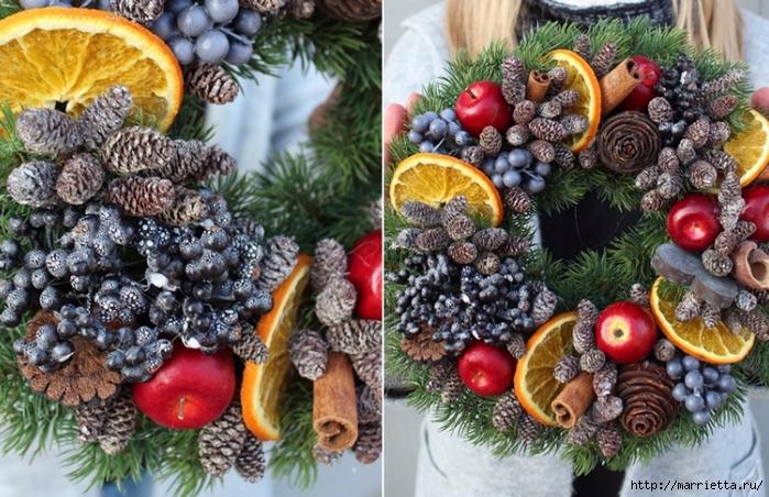 Рождественские венки из природных материалов (7) (700x452, 333Kb)