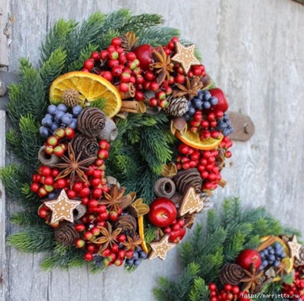 Рождественские венки из природных материалов (11) (615x610, 270Kb)