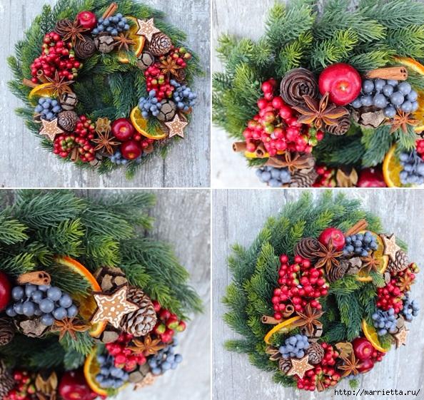 Рождественские венки из природных материалов (19) (594x561, 364Kb)