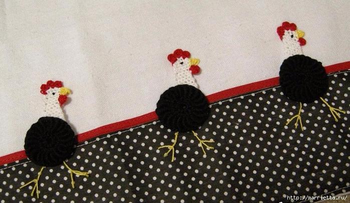 Петушки крючком для украшения кухонного полотенца (4) (700x407, 252Kb)