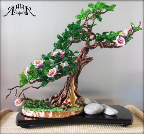 Цветущий бонсай из бисера мастер класс