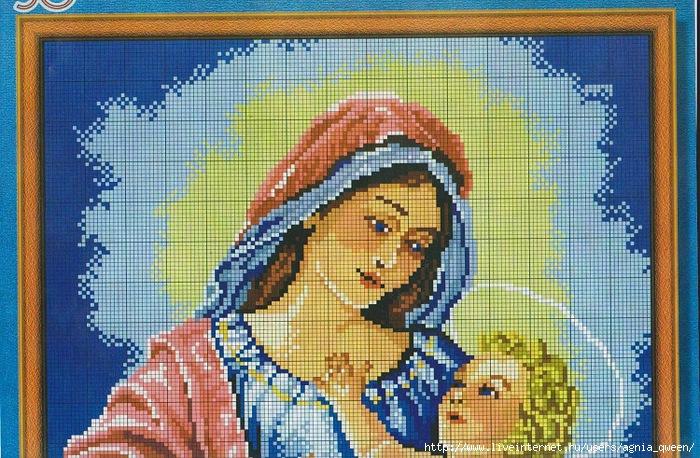 Вышивка крестом мария с младенцем