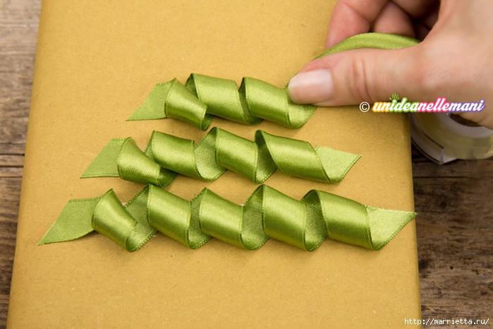 Елочка из ленточек. Оригинальная упаковка подарка (2) (700x466, 227Kb)