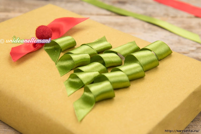 Елочка из ленточек. Оригинальная упаковка подарка (4) (700x466, 190Kb)