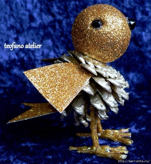Handmade. Птички из сосновых шишек (1) (577x627, 310Kb)