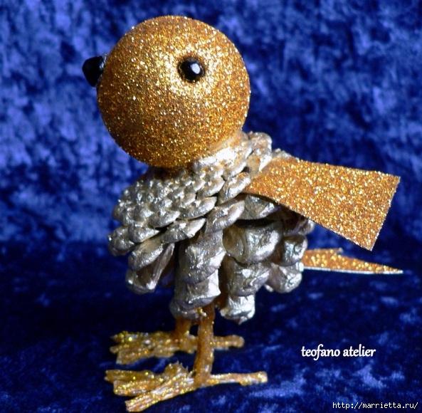 Handmade. Птички из сосновых шишек (3) (593x580, 266Kb)