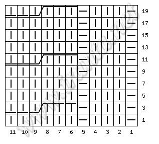 Схема узора Косы. Рапп 11 п (317x286, 14Kb)