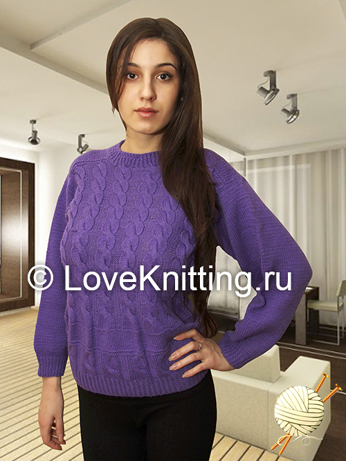 06 Автор Сирен пуловер с косами 1 МТ2 (500x667, 309Kb)