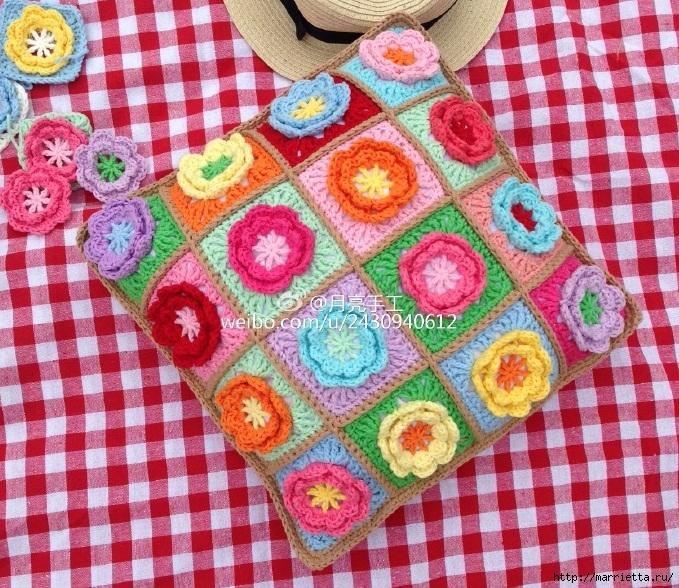 Подушка крючком из квадратов с цветами (2) (679x588, 438Kb)