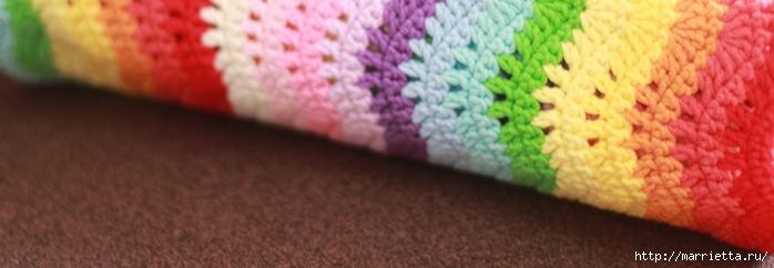Волнистый разноцветный узор крючком для пледа (4) (700x242, 124Kb)