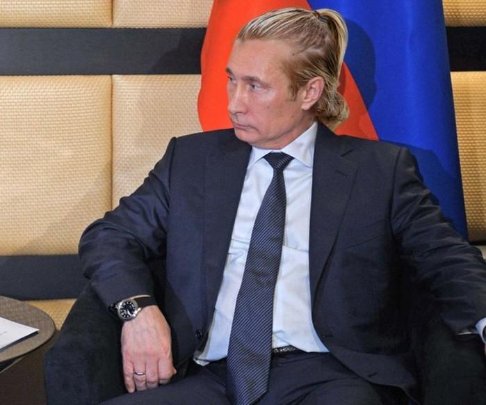 Знаменитые политики с хипстерскими прическами   фото Путина с гулькой на макушке