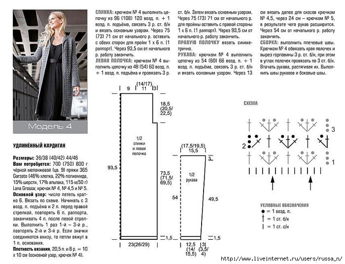 Подробное описание вязания кардигана на размер 56 14