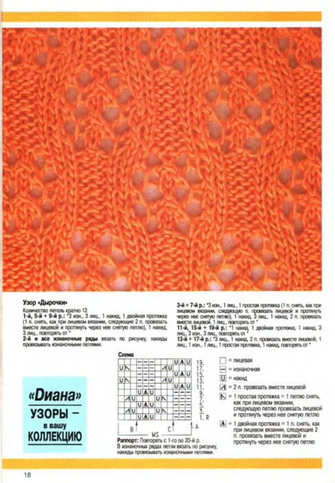 Вязание спицами узоров с накидами 436