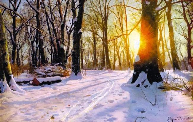 Заход солнца в лесу. 1901 (651x412, 369Kb)