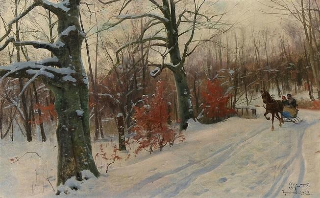 Снежная дорога в лесу Raadvad (Estrada nevada na floresta de Radvad). 1923 (653x405, 337Kb)