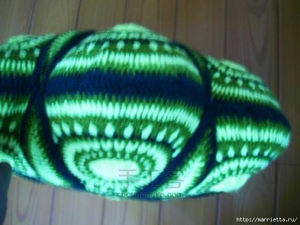 Панцирь черепахи - подушка крючком из круглых мотивов (6) (593x445, 125Kb)