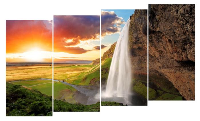водопад Исландии на закате часть 1,2,3,4 умен мал (700x424, 277Kb)