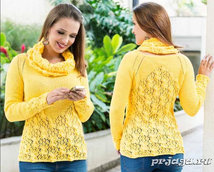 Желтый свитер спицами с воротником – снудом (700x563, 476Kb)