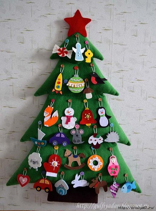 Новогодние игрушки ёлочки своими руками