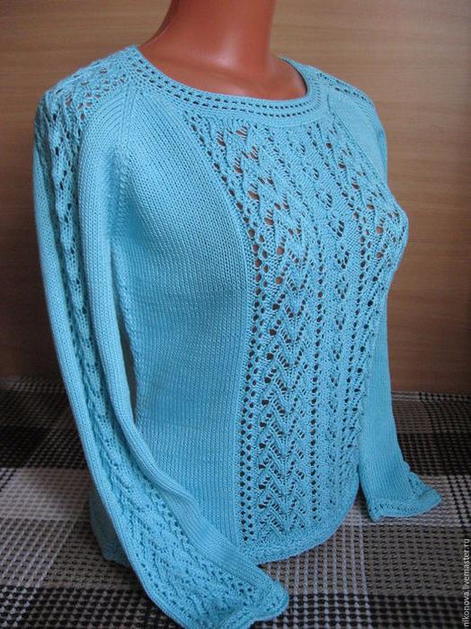 Вязаный Голубой Пуловер С Доставкой