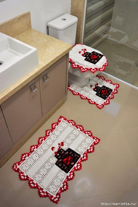 Комплект с Санта Клаусами для ванной комнаты. Крючком (2) (467x700, 256Kb)