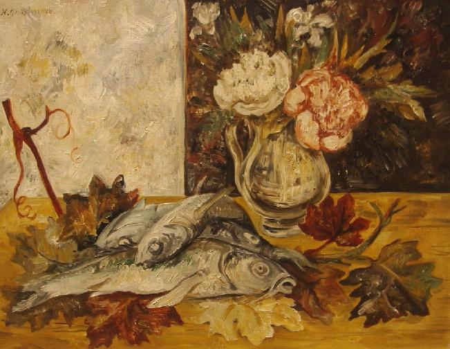 Рыбы. Натюрморт с рыбами и цветами» Около 1928. (651x504, 431Kb)