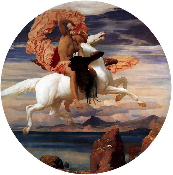 Фредерик Лорд Лейтон (1830-1896)   Персей на Pegasus торопится  спасать Андромеду   с 1895-1896 (693x700, 75Kb)